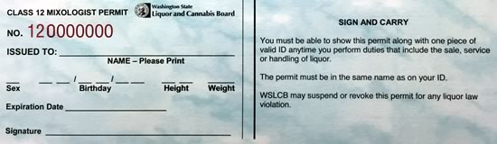 Sample Class 12 MAST permit for Washington State